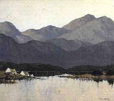 Cottages by Lough by Irish artist Paul Henry
