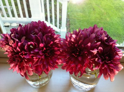 morning light on dahlias